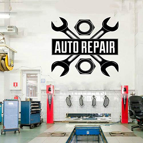 SLQUIET Diy auto auto reparatur logo auto service vinyl aufkleber rolle reifen reparatur auto studio schaufenster aufkleberwasserdichtwandaufkleber himmelblau m 47x42 cm