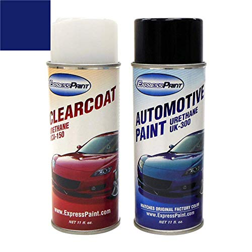 ExpressPaint Aerosol - Automotive Touch-up Paint for Nissan Versa - Dark Blue Metallic Clearcoat B23 - Color + Clearcoat Package