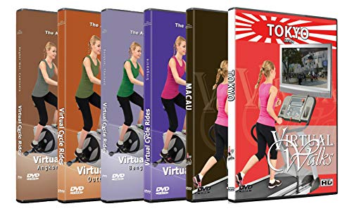 2 Virtual Walks and 4 Cycle Rides DVD Combo Pack - Best of Asia Bundle - Scenic Route Videos for Treadmill Walking or Cycling Workouts