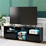 ZOEON TV Schrank 130 cm - TV Lowboard mit LED - TV Board mit viel Stauraum für Ihr Wohnzimmer - 130 x 33.5 x 45 cm (Schwarz)