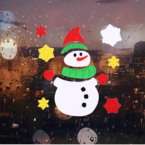 duquanxinquan 12X Fenster Aufkleber klammert Sich an Glas Dekoration Set Gel Sticker/Aufkleber/Wandtattoo/Weihnachten Fenster Bad - wasserfest - selbstklebend Wandsticker (Multicolor)