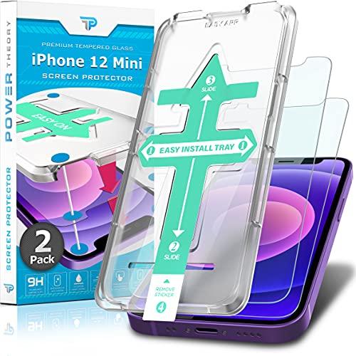 Power Theory Panzerglas für iPhone 12 Mini [2 Stück] - Schutzfolie mit Schablone, Panzerglasfolie, Panzerfolie, Glas Folie, Displayschutzfolie, Schutzglas
