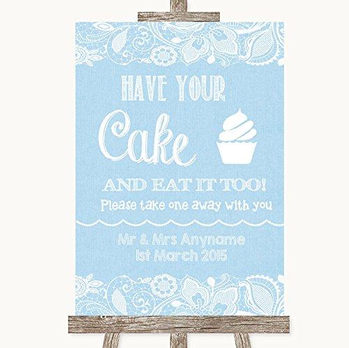 Blue jute & kant collectie blauwe jute & kant hebben uw taart & eten het te bruiloft teken Framed Oak Small Blauw