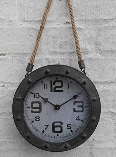 Deko-Impression Wanduhr/Uhr an Leinenkordel Loftstyle Eisen Grau-Antik 20 cm