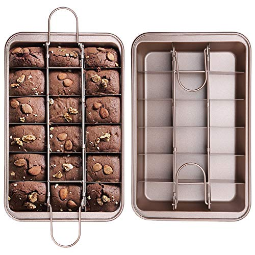 juehu 1 Pack Brownie Backforme Antihaft Brownie Dose mit Trennfächern und Hebeboden kuchenform,für Muffins Kuchen Schokolade Cupcak haltbarer Kohlenstoffstahl,Rechteckig 31cm×20cm muffinblech