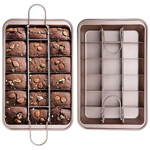 juehu 1 Pieza Sartén para Brownie Moldes para Brownies,Antiadherente Brownie Pan Sartén Antiadherente con rebanador Incorporado,18 cavidades,con divisores Inicio DIY Molde de la hornada,31cm×20cm
