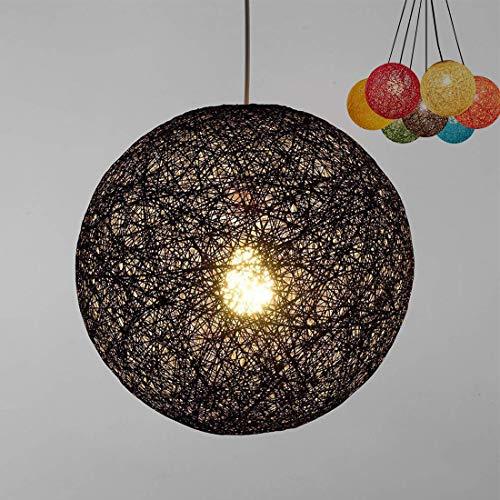 Modern celosía mimbre Rattan globo bola estilo techo colgante luz pantalla creativa personalidad bar, cafetería, habitaciones, restaurante simple decoración iluminación (Negro, 23cm)