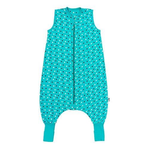 Schlummersack Schlafsack mit Füßen Sommer 1 Tog 90 cm dünn Teal Stars | Kinder Schlafsack mit Beinen und verlängerten Bündchen für eine Körpergröße 90-100cm | Schlummersack mit Füßen 1 Tog