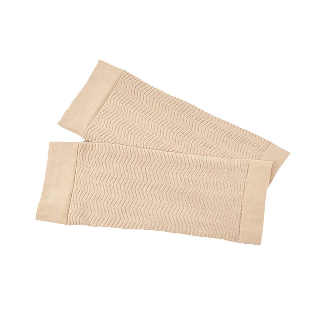 土郵便屋さんゴム1ペア680 D圧縮アームシェイパーワークアウトトーニングバーンセルライトスリミングアームスリーブ脂肪燃焼半袖用女性 - スキンカラー
