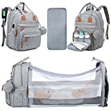 Diaper Bag Backpack with Bassinet Multifunction Baby Bag with Portable Changing Station, Waterproof Travel Back Pack with Bed Nets, and USB Charging Port