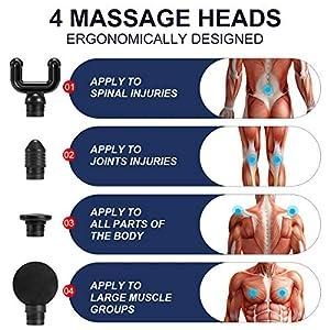 Upgraded Massage Gun, EROMMY Handheld Heating Function Deep Tissue Muscle Massager with 32 Speeds & 4 Heads Quiet Body Massage Gun for Home Gym Office Relief Tool