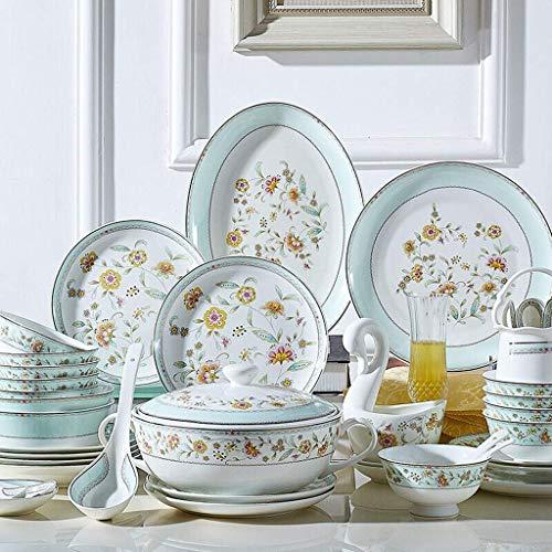 XUSHEN-HU Juego de vajilla de cerámica con 48 piezas, tazón/plato/cuchara, juegos de cena de porcelana de hueso, juego de combinación de porcelana de estilo europeo, vintage azul
