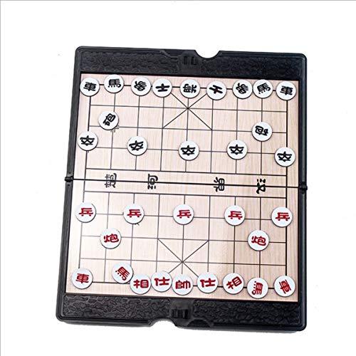 Sunnyflowk Compact Size Mini Magnetisch Faltbar Chinesisches Schachspiel Kinder Lernspielzeug China National Style Brettspiele (schwarz & beige)