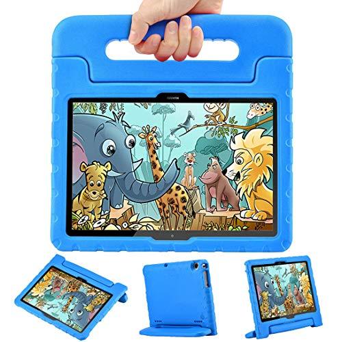 LEEBOSS Kids Funda para Huawei MediaPad T5 (10,1 pulgadas), a Prueba de Golpes, Ligera, Soporte De Manija Protectora Cubierta De Los Niños Funda para Huawei MediaPad T5 10 (10.1') – Azul