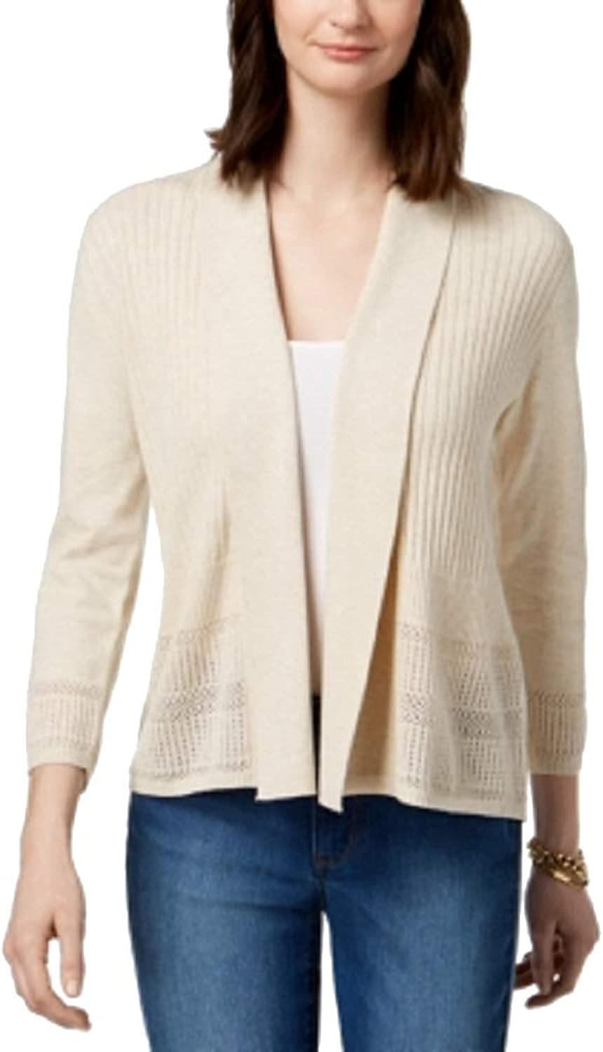 Karen Scott Petite Open PointelleKnit Cardigan