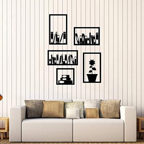 Dongwall Benutzerdefinierte Büro Wandtattoo Bücherregal Innendekoration Leseecke Klassenzimmer Bibliothek Vinyl Fenster Aufkleber Buch Blumentopf Kunst Wand 57x74cm