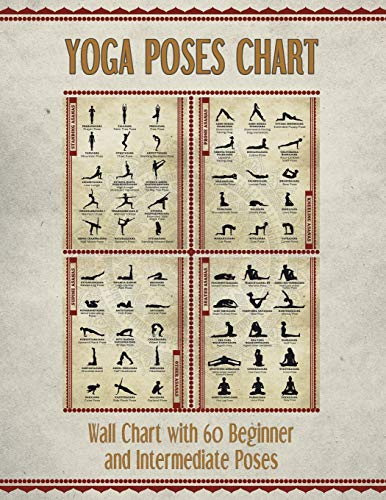 Yoga Poses Chart: Chart / Mini Poster With 60 Common Hatha Yoga Poses / Asanas in Sanskrit and English
