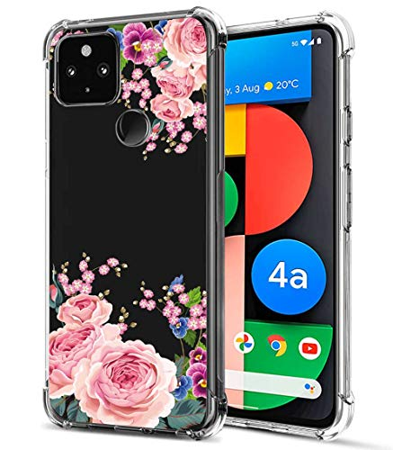 FollmeAir for Pixel 4a 5G Case, Slim Flexible TPU for Girls Women Airbag Bumper Shock Absorption Rubber Soft Silicone Case Cover Fit for Google Pixel 4A 5G (Rose/Butterfly Orchid)