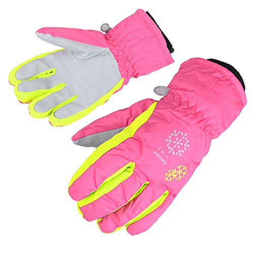 Image of AMYIPO Kids Winter Snow Ski Gloves Children Snowboard Gloves for Boys Girls (Pink-3, 6-7 Years)