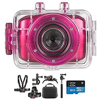 Vivitar DVR781HDKIT-PNK-STK- HD Action Waterproof Camera/Camcorder Hot Pink Bundle with Deco Gear Outdoor Action Kit with Clip Head Mount for Action Camera & Lexar 32gb microSDHC Memory Card