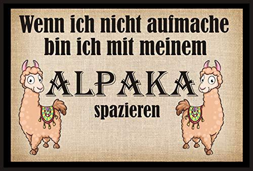 Crealuxe Fussmatte Wenn ich Nicht aufmache Bin ich mit Meinem Alpaka spazieren - Fussmatte Bedruckt Türmatte Innenmatte Schmutzmatte lustige Motivfussmatte