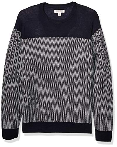 Amazon Brand - Goodthreads Men's Lightweight Merino Wool/Acrylic Crewneck Herrinbone Sweater, Navy Heather Grey Large