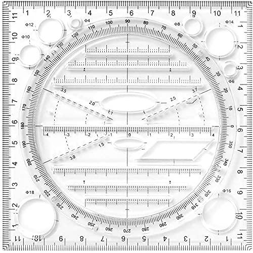 Regla de Dibujo de Escala Rodante,Regla de Dibujo Multiusos,Regla de Dibujo Geométrico, 360° Plantilla de Medición de Rotación para Regla de Línea Paralela Vertical de Curva Redonda (Negro)