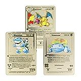 Metal Pokemon Cards Charizard Blastoise Venusaur Base Set Gold