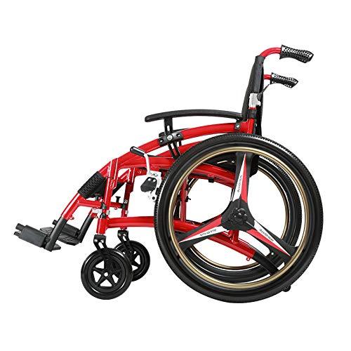 Zhaoronghua Freizeit-Sport-Rollstuhl, Leichter Tragbarer Reise-Klapprollstuhl, Älterer Behinderter Rollstuhl, Aluminiumlegierungs-Rollstuhl Für Die Älteren Personen,Rot