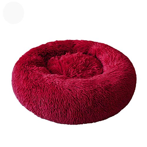 Manylifefashion Calming Washable Cat Bed Dog Bed Donut Pet Bed Fluffy Plush Pet Bed Cushion Cuddle Cozy Pet Nest Warm Plush Soft Puppy Sofa for Cats and Dogs (Diameter 60cm,1)