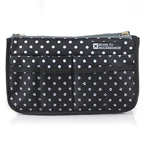 Premium Purse Organizer - Perfect Handbag Organizer Insert to Keep Your Personal Essentials Organized & Accessible - 13 Pockets - Study - Durable - Stylish (M-Polka Dots)
