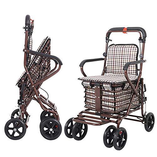KNDJSPR Carrello della Spesa Pieghevole con Gli Anziani, Trolley di generi Alimentari Pieghevole, carrelli di utilità Leggeri, con 4 Ruote, Materiale Canvas Pesante, Design ergonomico, per Il Riposo