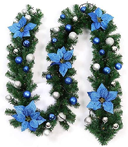 Hengqiyuan Christmas Garland 2.7M DIY Artificial Wreath Xmas Decoration Pre-Lit Garlands Wreath Decor with Illuminated LED Fairy Light Ornament for Stairs Fireplace Door Yard Xmas Tree,Blue