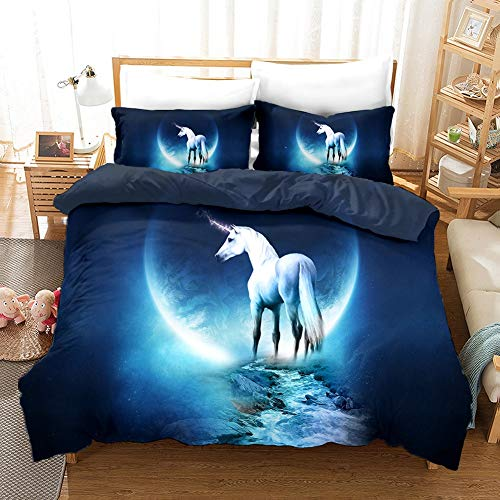 Three-piece Quilt Cover for Animal Unicorn In The Moonlight, 3D Anime Quilt Pillowcase, 100% Polyester, Soft and Comfortable, Bedding for Otaku and Anime Fans, Best Birthday Gift ( Size : 210210cm )