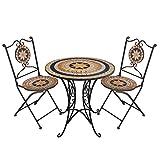 3tlg. Mosaik Sitzgarnitur Gartengarnitur Sitzgruppe Terrassenmöbel Balkonmöbel Sitzgruppe 2X Klappstuhl Mosaiktisch Ø70cm
