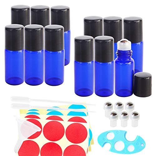 GreatforU 12Stk 3ml Blau Glas Roll-On Flaschen nachfüllbar Roller Flasche Flakon Behälter Halter Topf Topf mit Edelstahl Roller Kugeln, Glasflaschen für ätherische Öle, Parfüm, Aromatherapie, Probe