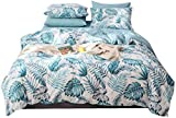 Tropical Duvet Cover, 100% Natural Cotton 3Pcs Tropical Bedding Set, Tropical Plant Banana Leaves Reversible Pattern Printed, with Zipper Ties, Lightweight, Soft Comfortable, Breathable (Palm, Queen)