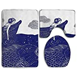 GGdjst Blue Art Girl Fish Soft Flannel Non-Slip Ensembles de Tapis de Salle de Bain 3 pièces Set Prevent Mold