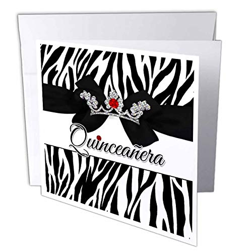 """3dRose Quinceanera Zebra Print with Red and Silver Crown Digital Bling - Greeting Card, 6"""" x 6"""", Single (gc_240083_5)"""