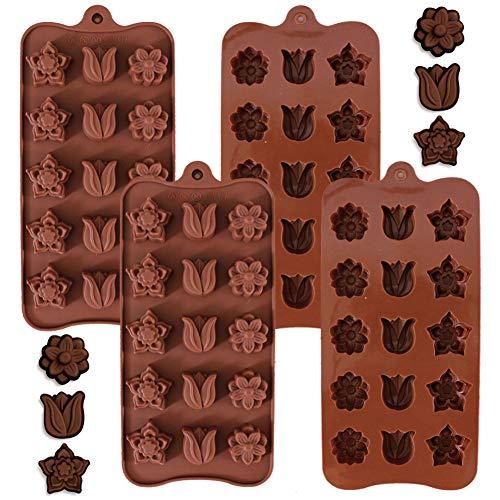 Moldes de Silicona Para Caramelos y Chocolates, NALCY Molde Flexible Para Caramelos Duros o Gomosos, Molde Bombones Silicona, Molde de silicona flor chocolate, 4 Pcs