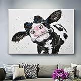 Dibujos animados lindo pequeño vaca leche animal acuarela lienzo pintura pared arte cartel impresiones niños guardería dormitorio sala de estar oficina estudio decoración del hogar mural