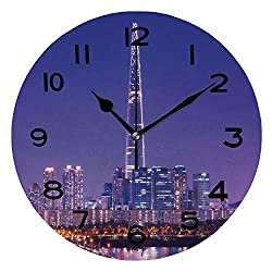 ALUONI Print Round Wall Clock, 10 Inch Seoul City Skyline at Han River with Tower in Seoul South Korea Quiet Desk Clock for Home,Office,School IS108640