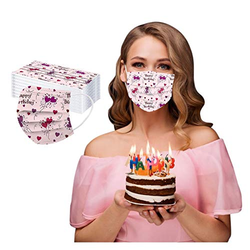 CawBing DisposableFaceMasks Birthday Gifts for Her Him 50PCS Happy Birthday Printed Decorations Balaclava 3 ply Comfort Breathable FaceCoverings with Elastic Earloop Protection Bandana