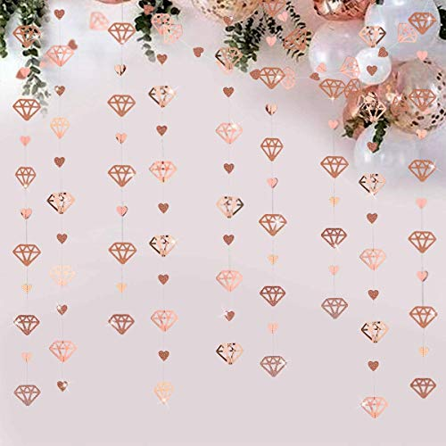 52Ft Rose Gold Diamond Heart Hanging Banner Double Sided Glitter Metallic Paper Garland for Bachelorette Engagement Wedding and Bridal Shower Anniversary Hen Party Birthday Party Decoration (4 Packs)