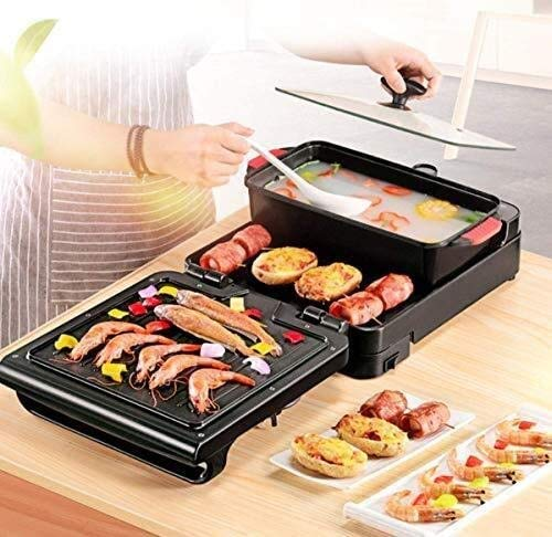 NBHUYT rijstkoker 3-in-1 hete pan barbecue grill multifunctionele Koreaanse machine multifunctionele elektrische kookpan vouwen, 67 * 29 * 10 cm