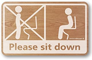 メイヴルアットホーム 座りション トイレステッカー 立たないでジョ~!!トイレ ステッカー 立ちション禁止 座って 座る マナー 掃除 シール (ウッド調)