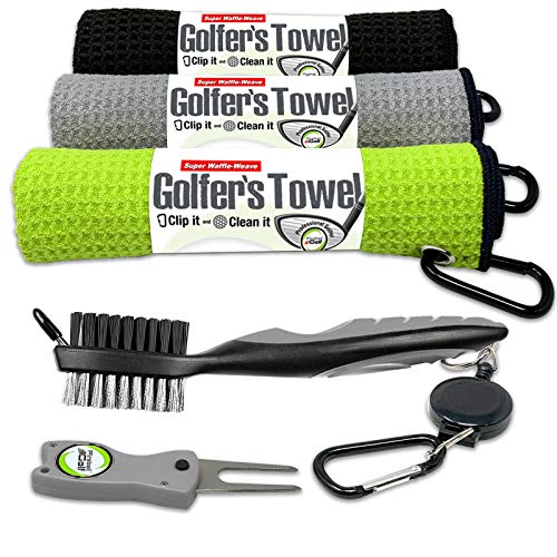 Fireball Golf 5-Piece Deluxe Golf Towel Gift Accessories Set in Green