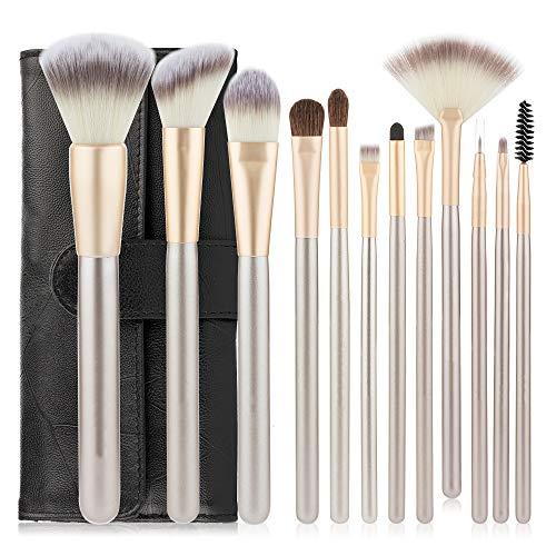 Lot de 12 pinceaux de maquillage en cheveux persans avec trousse de maquillage professionnelle - 12 curseurs champagne et un sac noir.