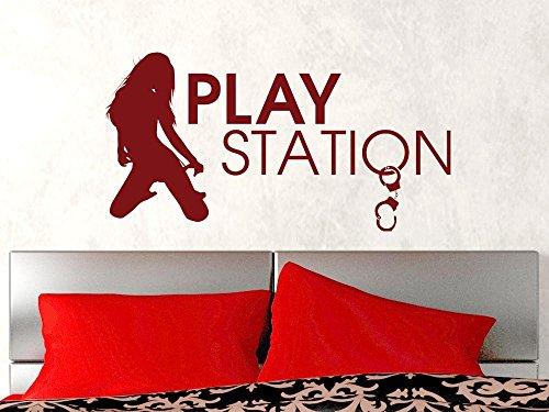 GRAZDesign Wandtattoo erotisch und romantisch - Home Dekoration modern Play Station - Schlafzimmer Tattoo sexy Motiv über Bett/für Tür / 58x30cm / 070 schwarz