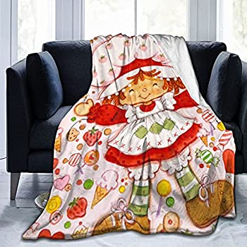 Bibuwaw Soft Micro Flannel Fleece Blanket Vintage Strawberry Shortcake Custard Comfort Throw Blanket Home Decor for Couch Sofa 50 X40